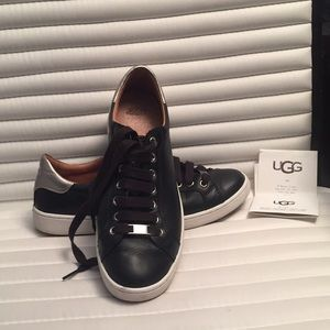 UGG Black leather sneakers size 10